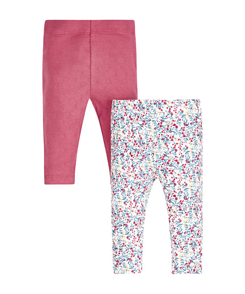 Floral and Pointelle Leggings - 2 Pack