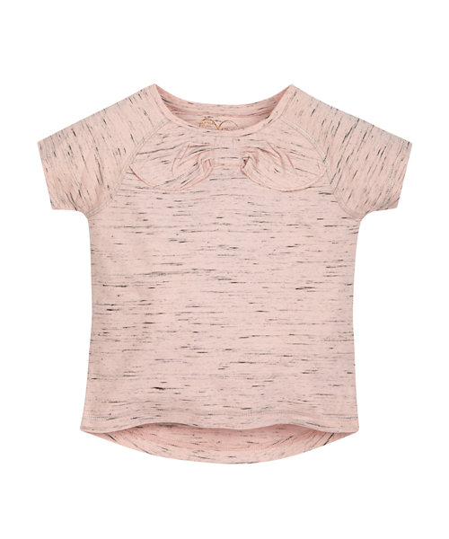 Pink Space Dye Bow T-Shirt