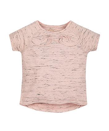 Pink Space Dye Bow T-Shirt