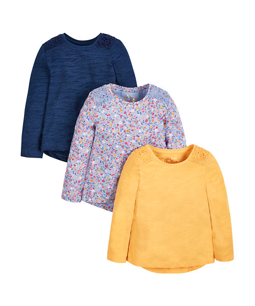 Navy, Mustard and Floral T-Shirts - 3 Pack