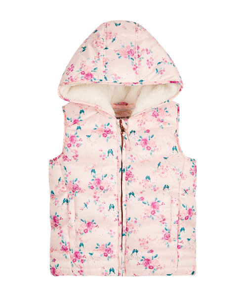 Floral Borg Lined Gilet