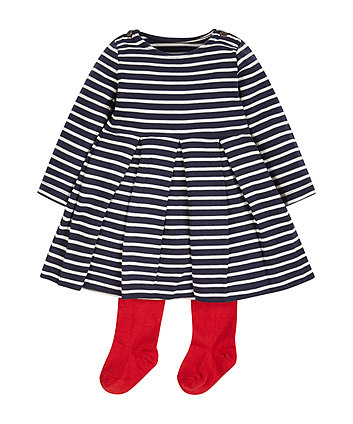 Stripe Dress with Tights