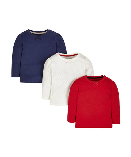 Navy, Red and White Pointelle T-Shirts - 3 Pack