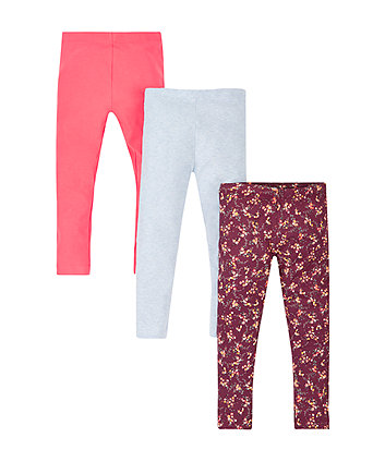 Floral, Blue Marl and Coral Leggings - 3 Pack