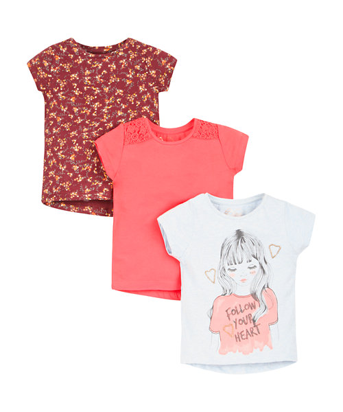 Follow Your Heart, Floral and Pink T-shirts - 3 Pack