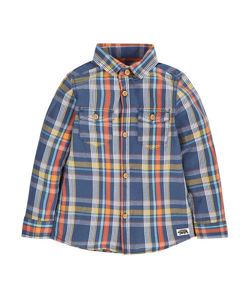 Denim Look Check Shirt