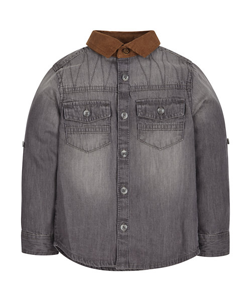 Grey Denim Shirt with Cord Collar