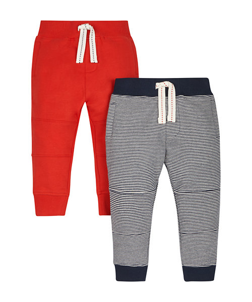 Red and Navy Striped Joggers - 2 Pack