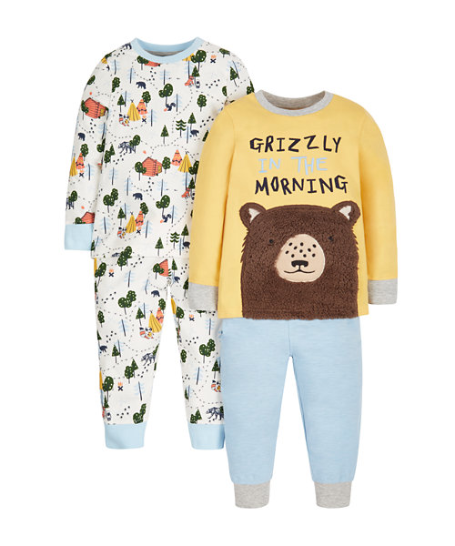 Grizzly In The Morning Pyjamas - 2 Pack