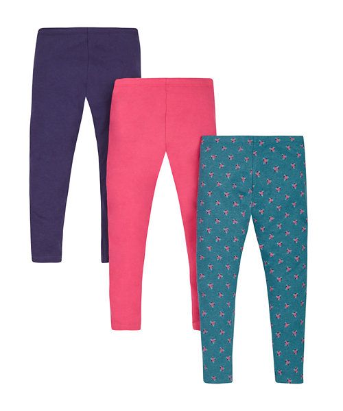 Pink, Navy and Floral Leggings - 3 Pack