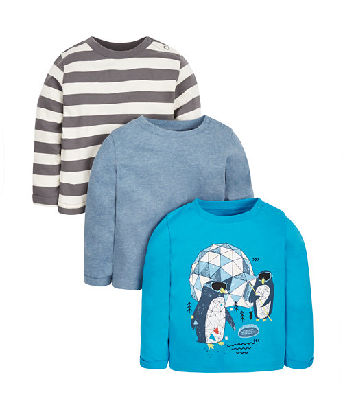 Geo Penguin, Striped and Blue Marl T-shirts - 3 Pack