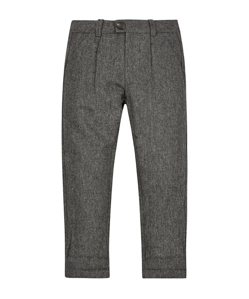 Grey Tweed Jersey Lined Trousers
