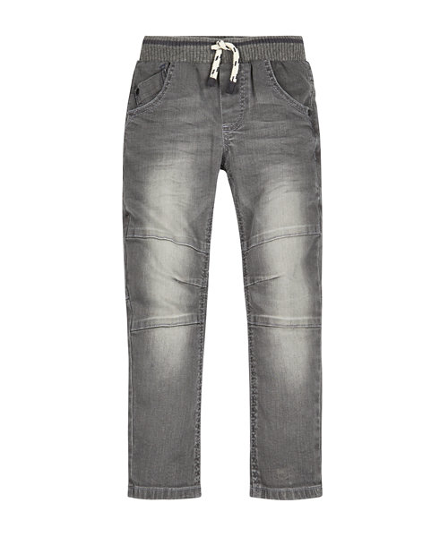 Grey Ribbed Waist Panel Jeans
