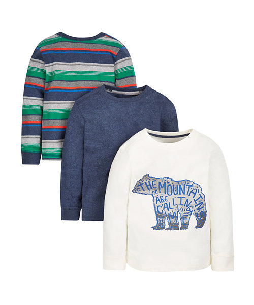 Bear, Striped and Charcoal T-Shirts - 3 Pack