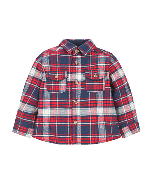 Navy, Red and White Checked Shirt