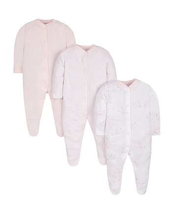 Mothercare Pink Sleepsuits - 3 Pack