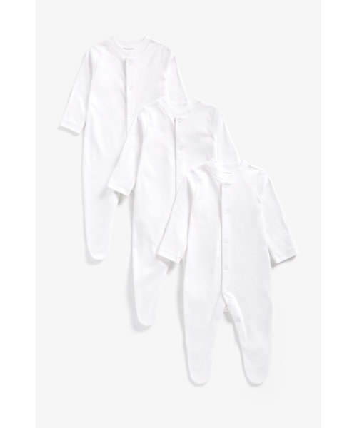 White Sleepsuits - 3 Pack