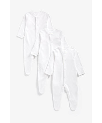 Mothercare White Sleepsuits - 3 Pack