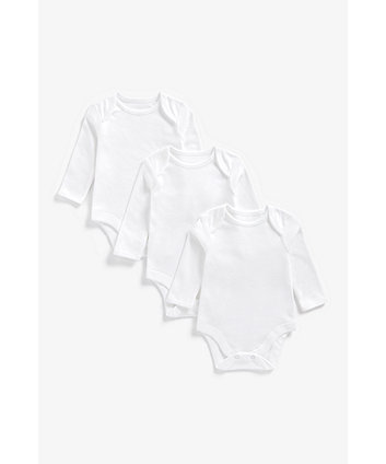 Mothercare Fashion My First Long Sleeve Bodysuits - 3 Pack White