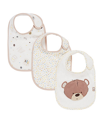 Mothercare Teddy's Toy Box Bibs -3 pack