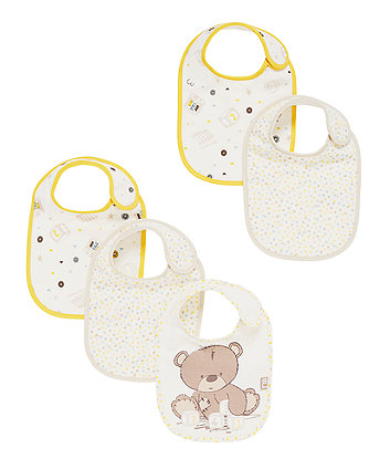 Teddy's Toy Box Newborn Bibs - 5 Pack