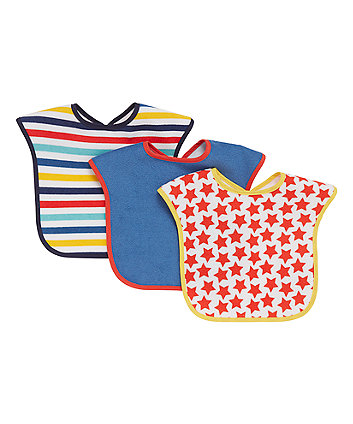 Mothercare Blue, Stars and Stripes Towelling Bibs - 3 Pack