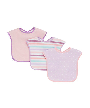 Mothercare Hearts and Stripes Towelling Bibs - Pink 3 Pack
