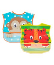 Mothercare Safari Faces Crumbcatcher Bibs - 2 Pack