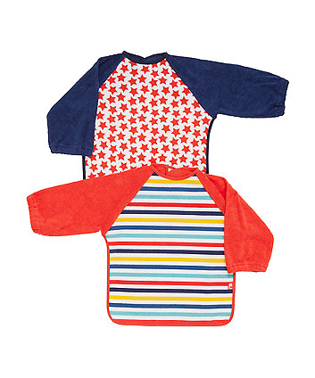 Mothercare Stars and Strriped Towelling Coverall Bibs - 2 Pack