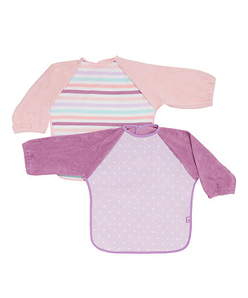 Mothercare Hearts and Strriped Towelling Coverall Bibs - 2 Pack