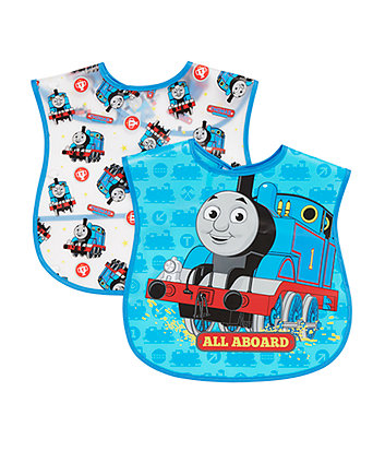 Thomas The Tank Engine Peva Crumb Catcher Bibs - Blue 2 Pack