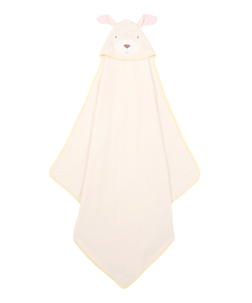 Mothercare Cuddle 'n' Dry Hooded Towel - Lamb