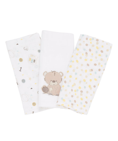 Mothercare Embroided Cuddle Me Bear Muslins - 3 Pack
