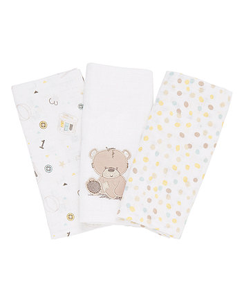 Mothercare Teddy'S Toy Box Muslins -  3 Pack