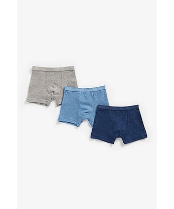Mothercare Navy, Blue And Grey Marl Briefs - 3 Pack