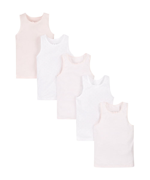 White and Pink Vests - 5 Pack