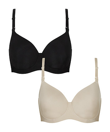 Mothercare Black And Nude Smoothing Nursing T-Shirt Bra - 2 Pack