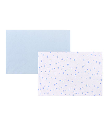 Mothercare Blue Printed Jersey Cotton Fitted Travel Cot Sheets - 2 Pack