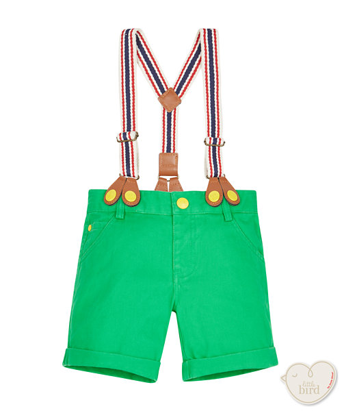 Little Bird Green Twill Shorts with Braces