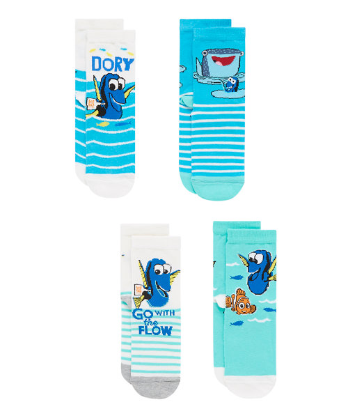 Disney Finding Dory Socks with Aegis - 4 Pack