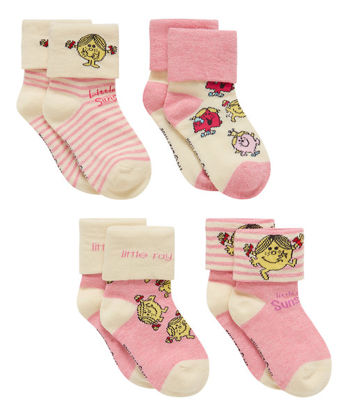 Little Miss Turn Over Top Socks - 4 Pack
