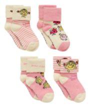 Little Miss Turn Over Top Socks - 4 Pack