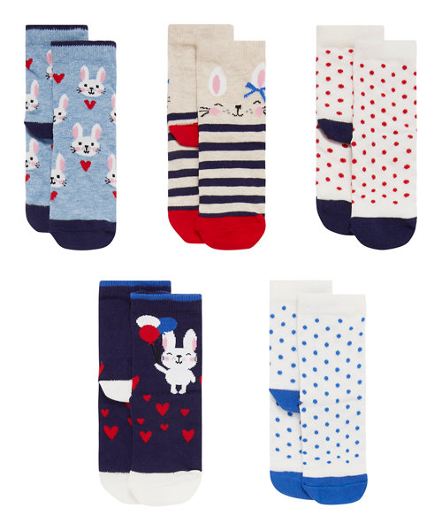 Bunny and Heart Socks with Aegis - 5 Pack