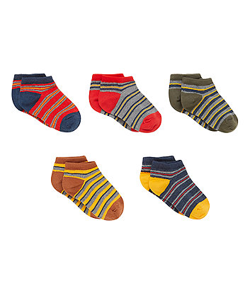 Stripy Trainer Socks - 5 Pack