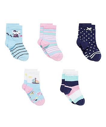 Sailor Cat Socks with Aegis - 5 Pack