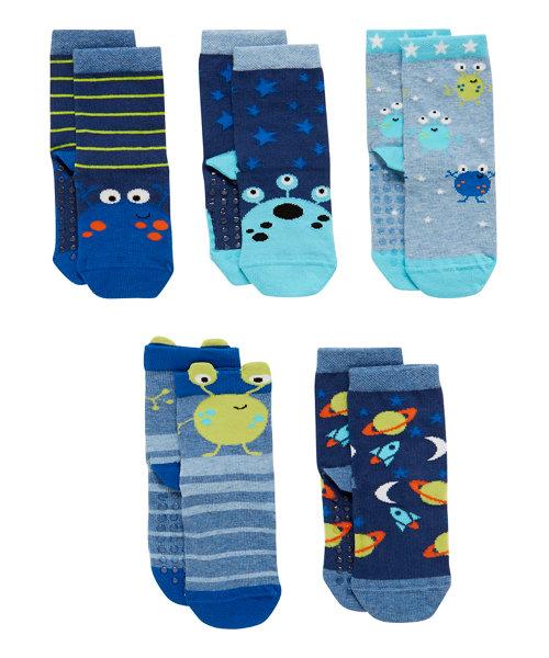 Alien Slip Resistant Socks - 5 Pack