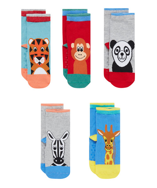 Animal Slip Resist Socks - 5 Pack