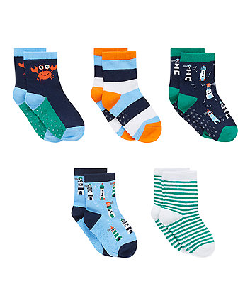 Lighthouse Socks with Slip Resist and Aegis - 5 Pack