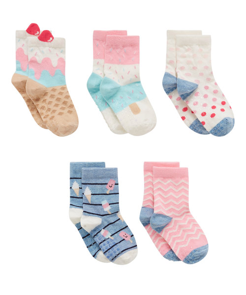 Slip Resist Ice Cream Socks with Aegis - 5 Pack