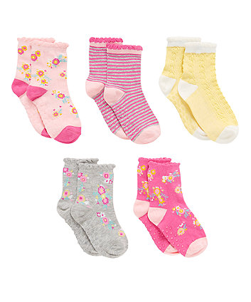 Floral Socks with Slip Resist - 5 Pack